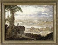 pärchen auf einer anhöhe vor weiter landschaft by hans adolf buhler