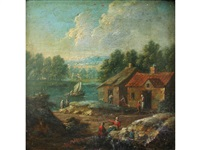 river landscape with figures by cottages by marc baets