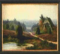 heidelandschaft mit blühender erika und kleiner strohbedeckter holzhütte by johannes harders