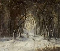 winterlicher waldweg mit holzfäller by edouard ferey