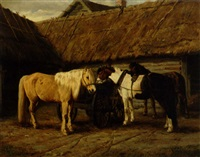 heste på gårdspladsen by a. tjarkin
