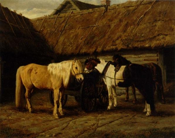 heste på gårdspladsen by a tjarkin