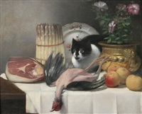 table top with cat and game by guillaume romain fouace