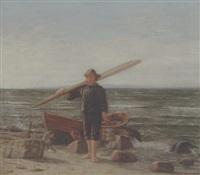 en fisker på stranden ved sin båd by christian rudolph vogelsang