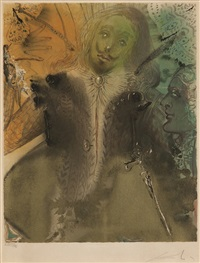 damis and durval (from three plays by the marquis de sade)(sold with 169b&c; set of 3) by salvador dalí