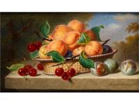 stilleben mit aprikosen, pflaumen und kirschen by ange louis guillaume lesourd-beauregard