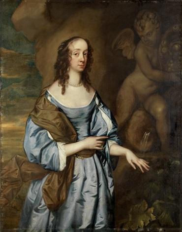 portrait einer adeligen dame vor amorbrunnenfigur by sir peter lely