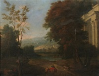 italianate landscape with figures and ruins by pierre patel