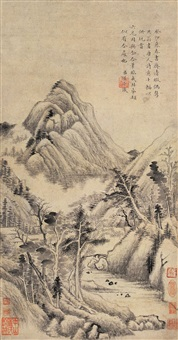 仿董其昌山水 (landscape after dong qichang) by yong rong and yong xing