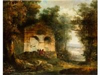 landschaft mit ruine und staffagefiguren by hubert robert