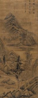 秋山图 立轴 绢本 by dong qichang