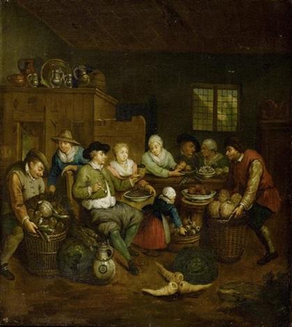 küchenszene mit figuren gemüse und früchten by jan baptist lambrechts