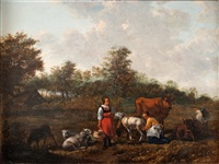 country scene with two maids milking sheep by johannes van der bent