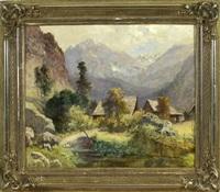 häuser inmitten einer talsohle umgeben von bergen in der steiermark by ludwig correggio