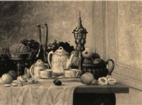 a tabletop still life by p. leroux