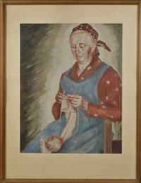 strickende großmutter by josef hengge