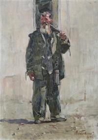 standing labourer by m. poplavsky