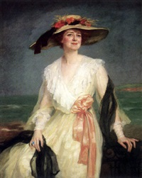 damenportrait - junge dame auf einer balustrade sitzend mit weißem spitzenkleid vor weiter küstenlandschaft by clemence-a. lenique de francheville