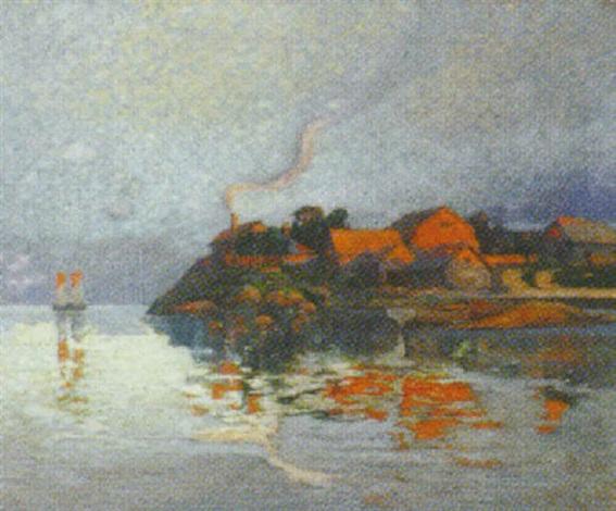 kystparti med huse i aftensol by hildegard soir