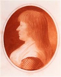 profilbildnis einer jungen frau mit langem haar und weißem kragen über dem gestreiften kleid by leonhard heinrich hessell