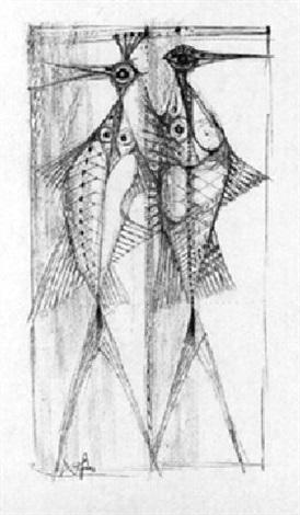 zwei fisch vögel ii by hans fis fischer