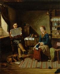 genrescene med ungt par, han læser avis, hun strikker by paul jacoby
