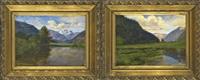 raffiguranti paesaggi montani con laghetto (2 works) by luigi arbarello