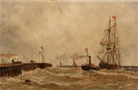 dover harbour, delaware and an american puffer (2 works) by william alexander kennedy martin