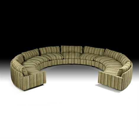 Etonnant Three Piece Sectional Circular Sofa By Milo Baughman