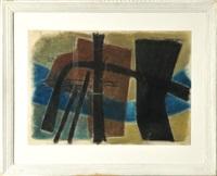 abstrakte komposition in schwarz, braun, blau und olive by jürgen von hündeberg