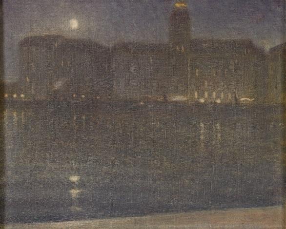 nattbild från stockholm utsikt från strandvägen mot strand hotell by john ahlberg