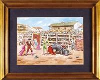 corrida en plaza de pueblo by santos saavedra