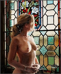 nude with stained glass by walter awlson