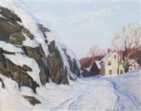 snowy road with houses by georges a. renourd