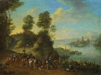 flusslandschaft mit reitern und booten by jan frans van bredael the elder