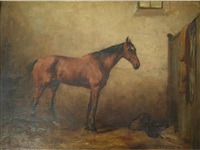 a bay horse in a stable by george denholm armour