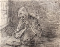 betende person am tisch sitzend by jozef israëls