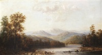 landscape with distant mountains and crane by henry nesbitt mcevoy