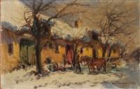bauer mit pferdefuhrwerk auf winterlicher dorfstrasse by lajos nemeth