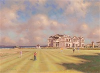 eighteenth green with the royal & ancient clubhouse, st. andrews by richard forsyth