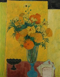 vase of daisies and chrysanthemums by frederick arthur jessup