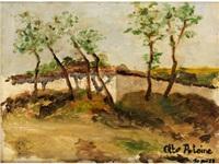 junge bäume vor einer gartenmauer by otto antoine