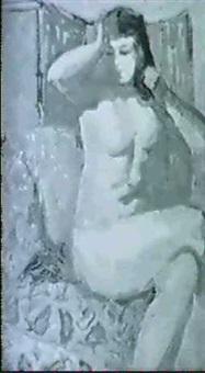 nackte dame vor einem paravent bei der toilette by hlustschenko mykola