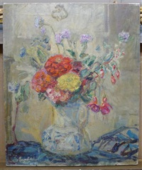 still life of flowers in a jug by florence engelbach