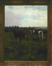 kuhhirte mit seinen kühen in weiter landschaft, mit blick auf windmühle und gehöft by william frederick hulk