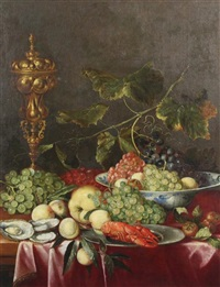 still life of fruit, a lobster, oysters and a goblet upon table top by jan davidsz de heem