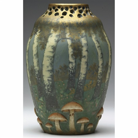 teplitz bulbous vase with birch tree and mushroom design by paul daschel
