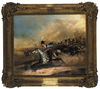 parade of the austrian 2nd k.k. hussar regiment, king of hanover, in the lead colonel von kiss (+ attack of the 3rd royal prussian hussar regiment, king of hanover, count solms in the lead; 2 works) by eduard frederich