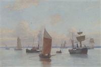 dampskib og sejlbåde ud for kobenhavns havn by jens christian rasmussen
