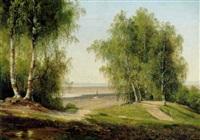 bakket landskab med hoje birketræer samt et par på en bænk by magnus thulstrup bagge